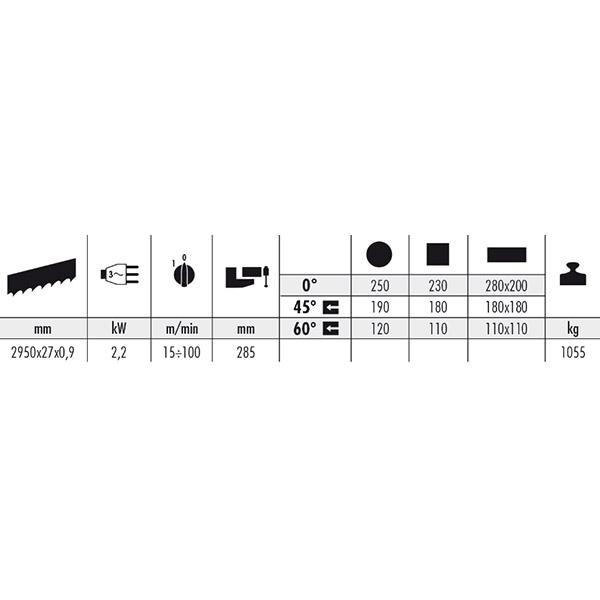Avtomatska tračna žaga MEP SHARK 281 NC 5.0