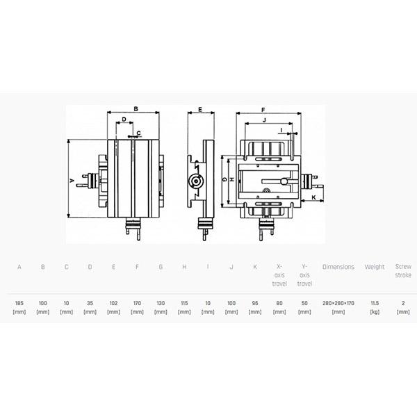 Koordinatna miza 185x100