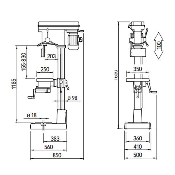 Mere vrtalni stroj serrmac V 25-V25E